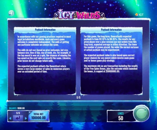888 Casino featuring the Video Slots Icy Wilds with a maximum payout of $25,000,000