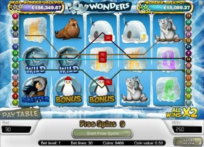Spin Station featuring the Video Slots Icy Wonders with a maximum payout of $15,000