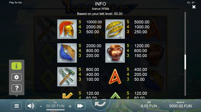 Icarus Wilds :: Paytable - High Value Symbols