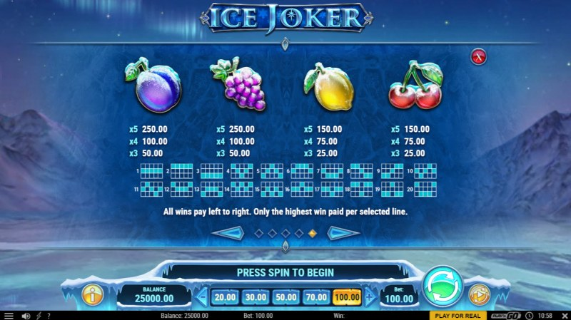 Ice Joker :: Paytable - Low Value Symbols