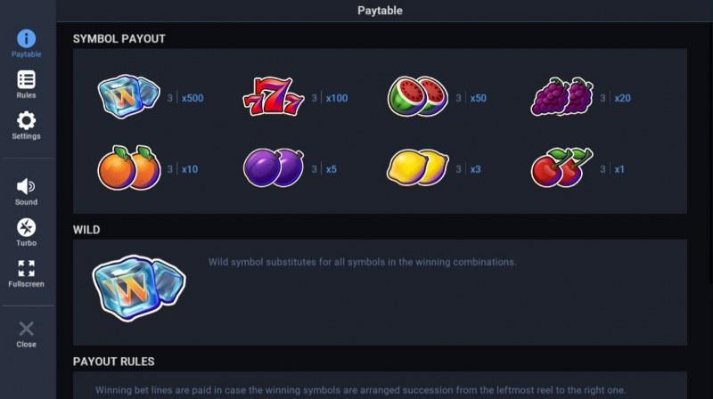 Ice Mania :: Paytable