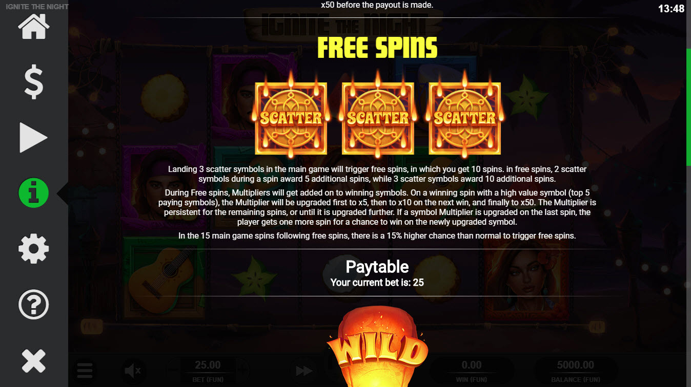 Ignite the Night :: Free Spins Rules