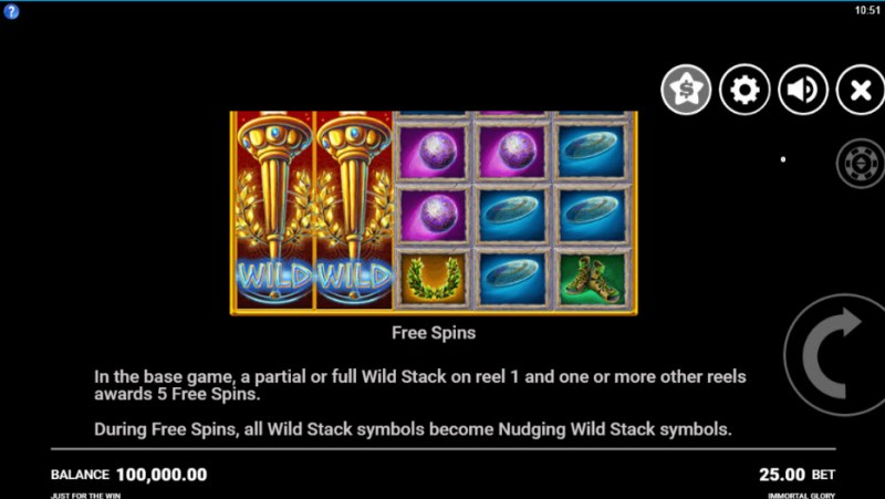Immortal Glory :: Free Spins Rules