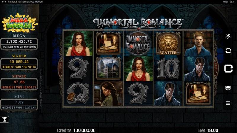 Immortal Romance Mega Moolah :: Main Game Board