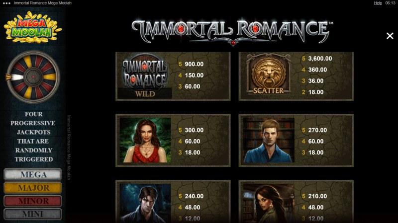 Immortal Romance Mega Moolah :: Paytable - High Value Symbols