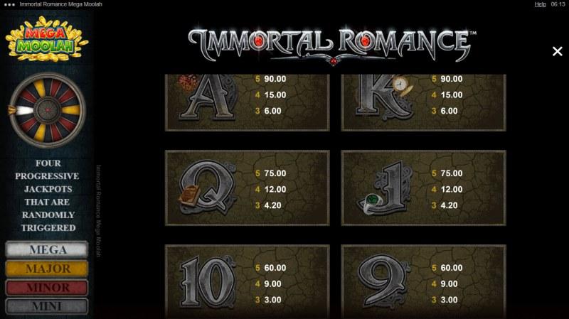 Immortal Romance Mega Moolah :: Paytable - Low Value Symbols