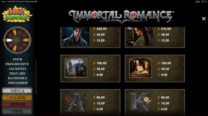 Immortal Romance Mega Moolah :: Paytable - Medium Value Symbols