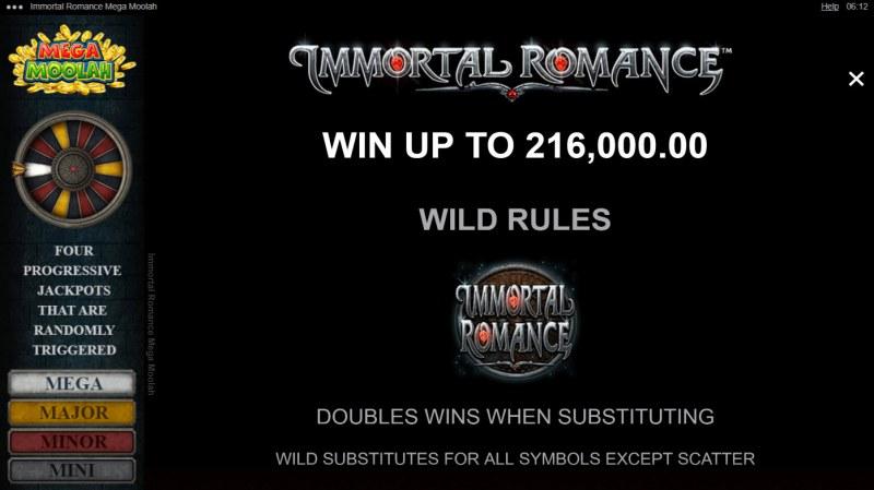 Immortal Romance Mega Moolah :: Wild Symbol Rules