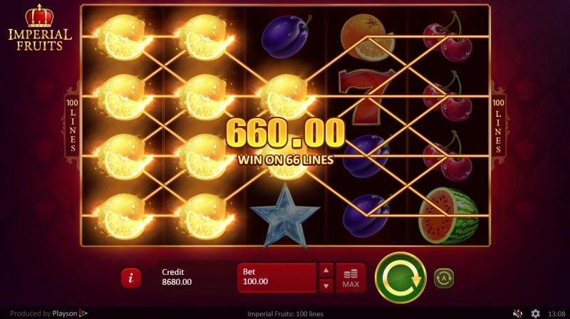 Imperial Fruits 100 Lines :: Multiple winning paylines