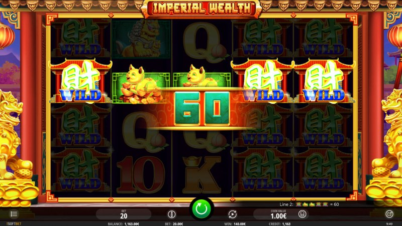 Imperial Wealth :: Multiple winning paylines triggered by reel modifier feature