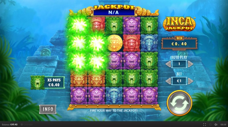 Inca Jackpot :: Winning symbols are removed from the reels and new symbols drop in place