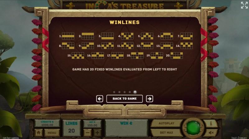 Inca's Treasure :: Paylines 1-20