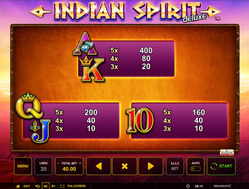 Indian Spirit Deluxe :: Paytable - Low Value Symbols