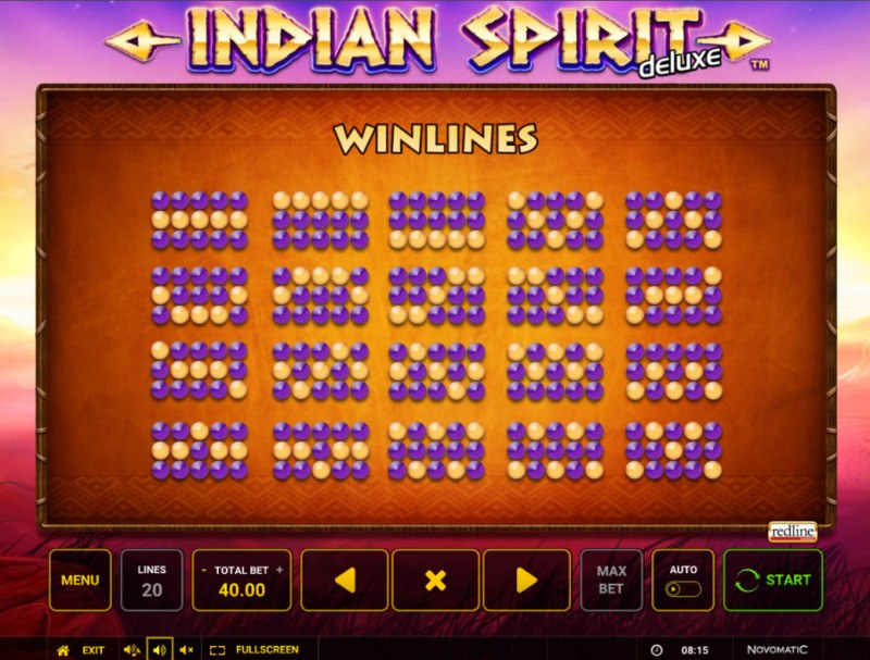 Indian Spirit Deluxe :: Paylines 1-20