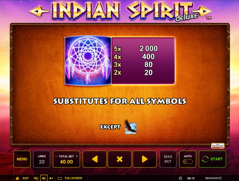Indian Spirit Deluxe :: Wild Symbol Rules