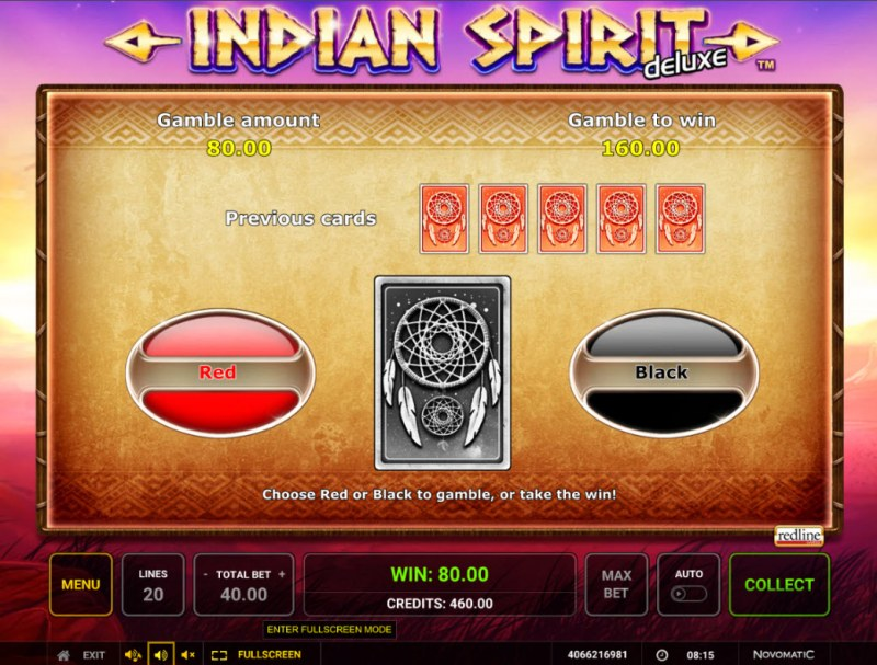 Indian Spirit Deluxe :: Red or Black Gamble Feature