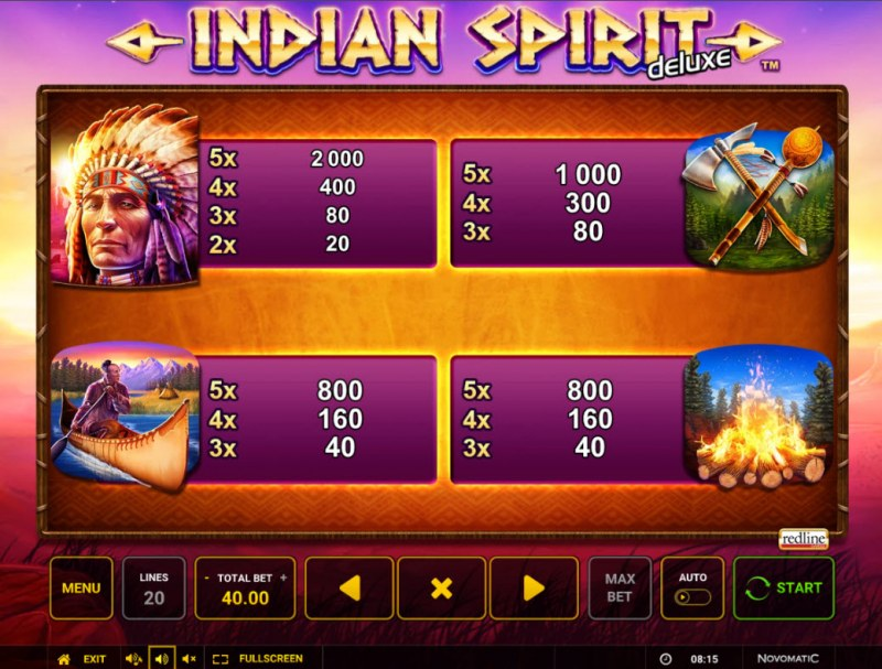 Indian Spirit Deluxe :: Paytable - High Value Symbols