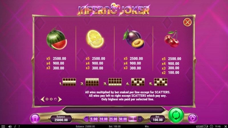 Inferno Joker :: Paytable - Low Value Symbols
