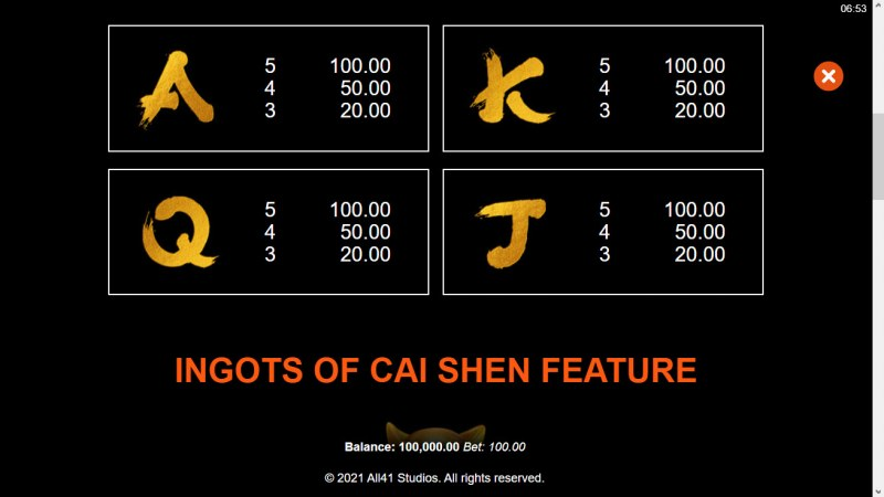 Ingots of Cai Shen :: Paytable - Low Value Symbols