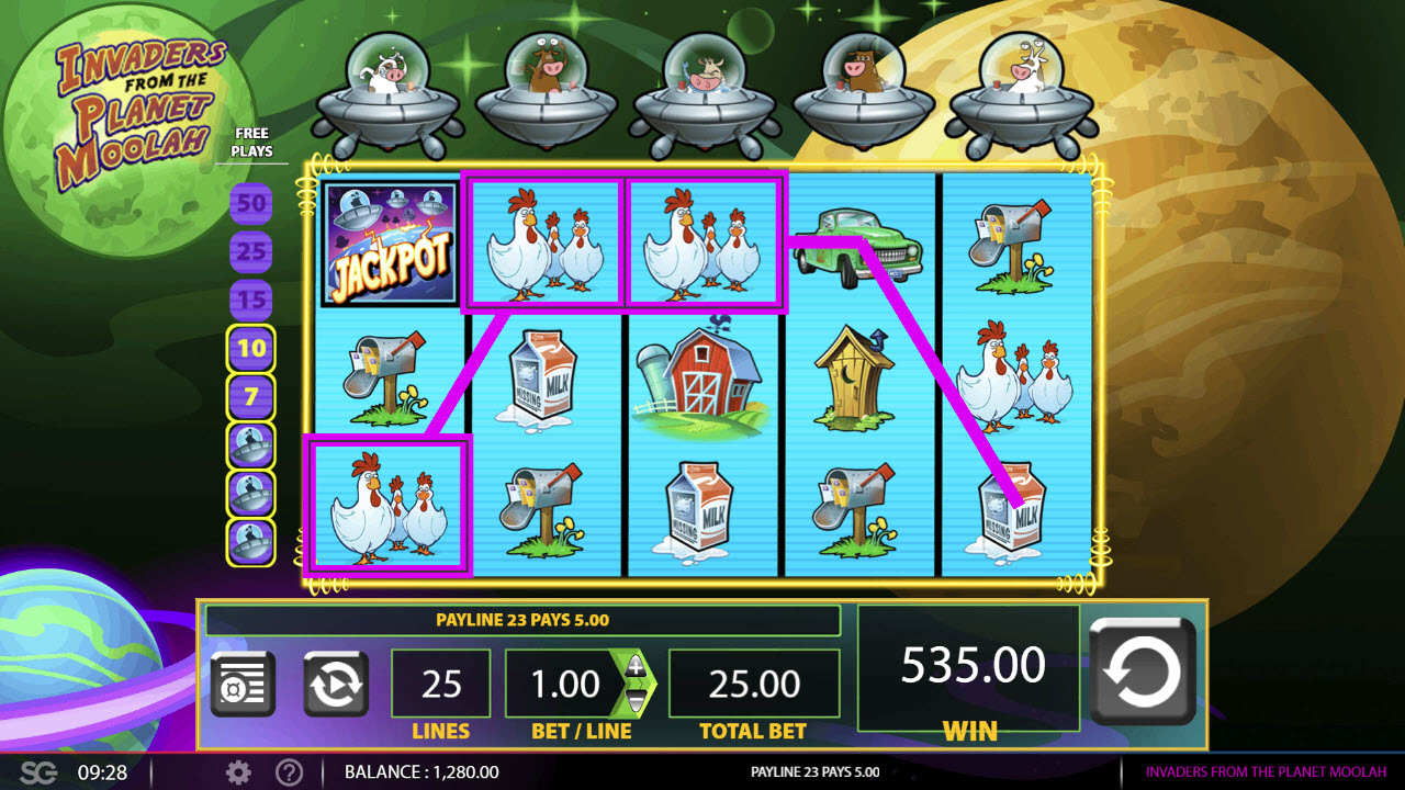 Invaders from the Planet Moolah :: Four or more consecutive cascade wins triggers the free spins feature