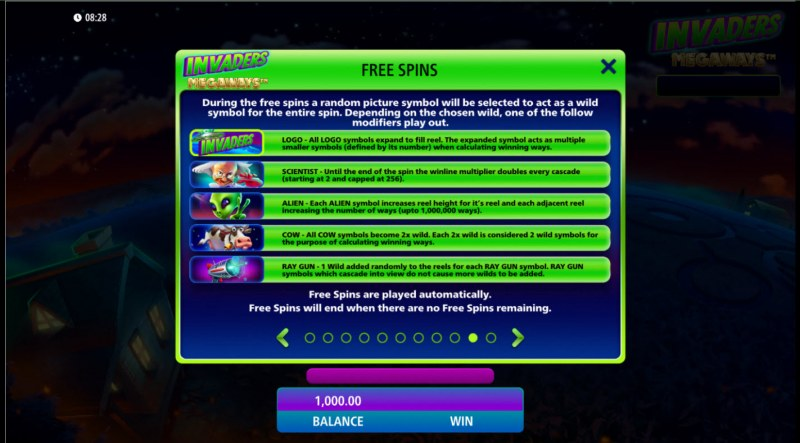 Invaders Megaways :: Free Spin Feature Rules