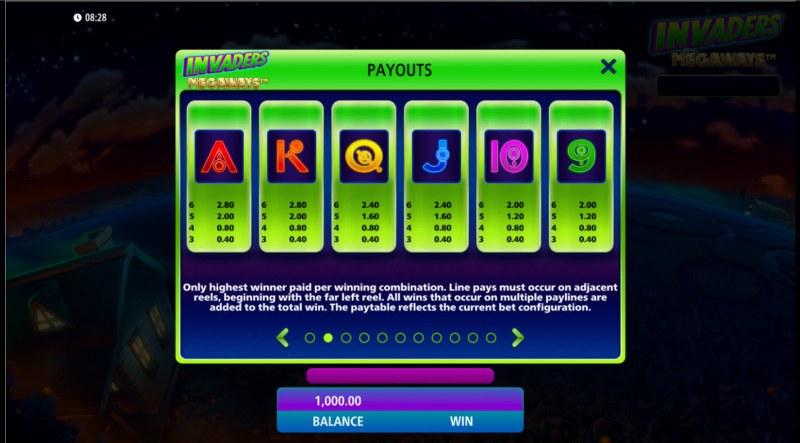 Invaders Megaways :: Paytable - Low Value Symbols