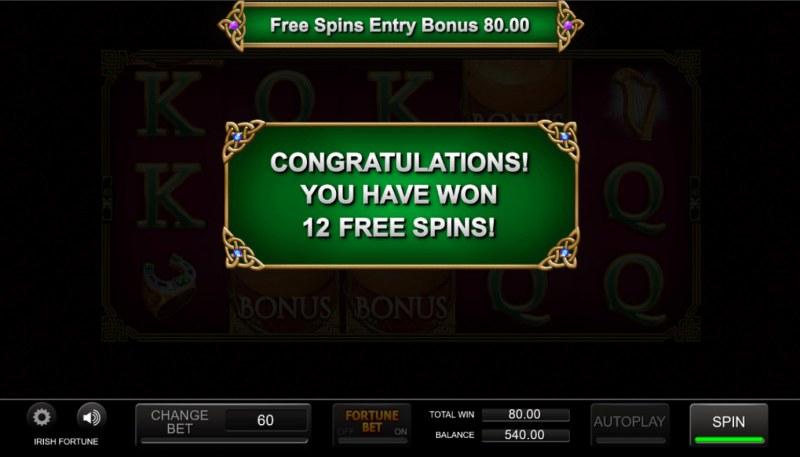 Irish Fortune :: 12 free spins awarded