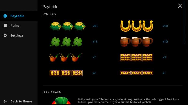 Irish Reels :: Paytable