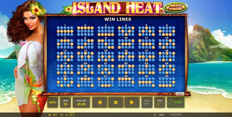 Island Heat :: Paylines 1-30