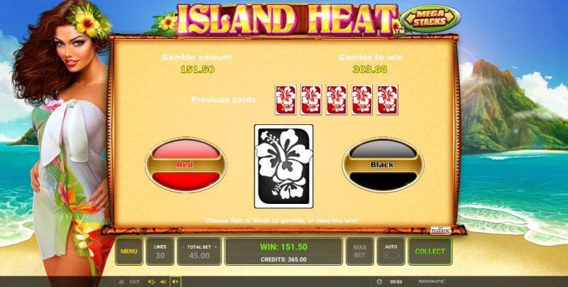 Island Heat :: Red or Black Gamble Feature