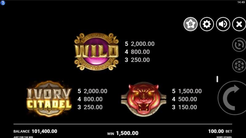 Ivory Citadel :: Paytable - High Value Symbols