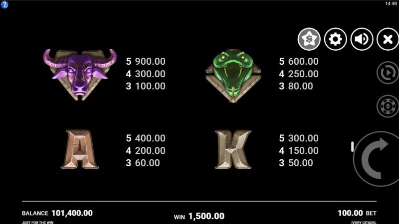Ivory Citadel :: Paytable - Medium Value Symbols