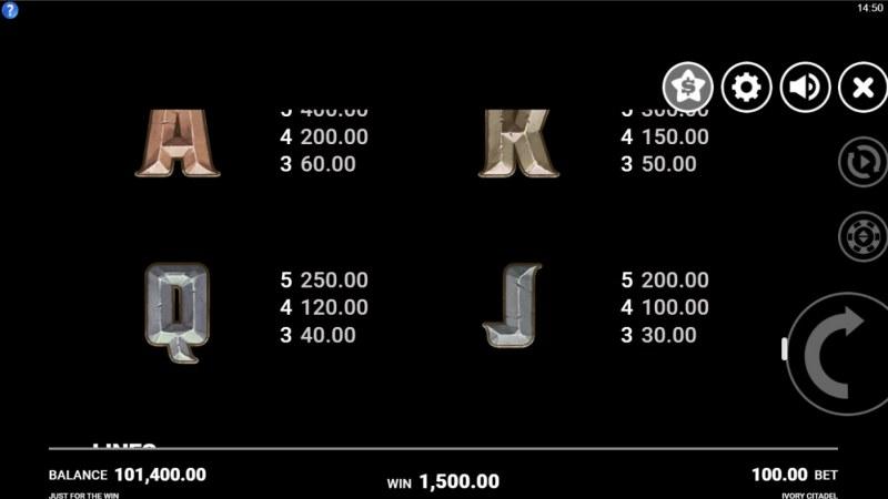 Ivory Citadel :: Paytable - Low Value Symbols