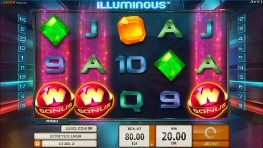 Play slots at Amsterdam Casino: Amsterdam Casino featuring the Video Slots Illuminous with a maximum payout of $40,000
