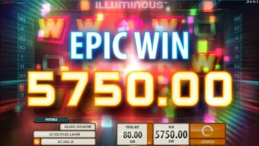 emu Casino featuring the Video Slots Illuminous with a maximum payout of $40,000