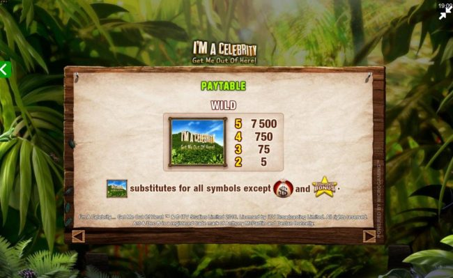 Mummys Gold featuring the Video Slots I'M A Celebrity Get Me Out of Here! II with a maximum payout of $75,000