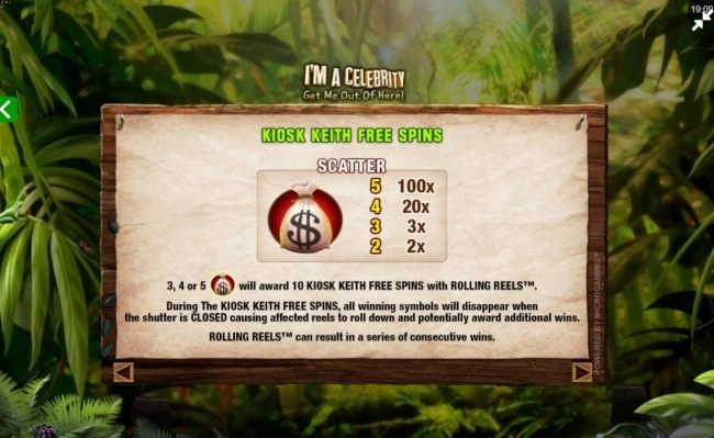 Aztec Ritces featuring the Video Slots I'M A Celebrity Get Me Out of Here! II with a maximum payout of $75,000