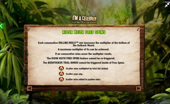 ZigZag777 featuring the Video Slots I'M A Celebrity Get Me Out of Here! II with a maximum payout of $75,000