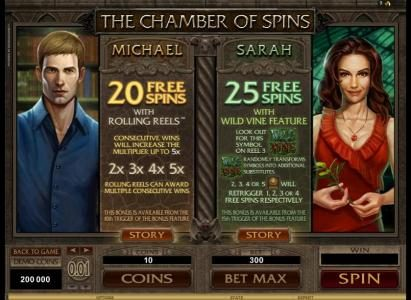Chanz featuring the Video Slots Immortal Romance with a maximum payout of $3,645,000