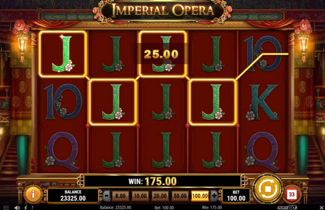 Split Aces featuring the Video Slots Imperial Opera with a maximum payout of $50,000