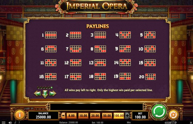 Unique Casino featuring the Video Slots Imperial Opera with a maximum payout of $50,000