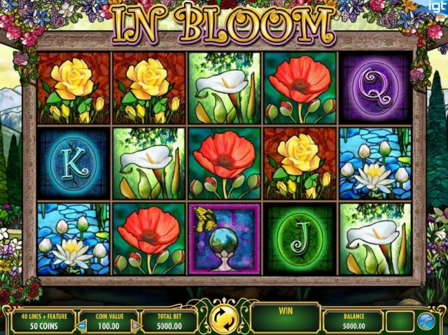 In Bloom :: Main game board featuring five reels and 40 paylines with a $250,000 max payout