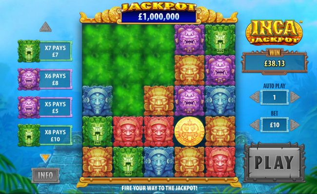 Crown Europe featuring the Video Slots Inca Jackpot with a maximum payout of Jackpot