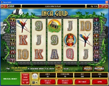 Blackjack Ballroom featuring the Video Slots Inca Gold with a maximum payout of $50,000