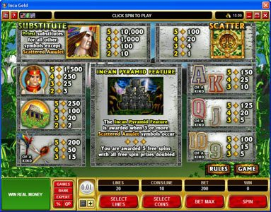 Vegas Winner featuring the Video Slots Inca Gold with a maximum payout of $50,000