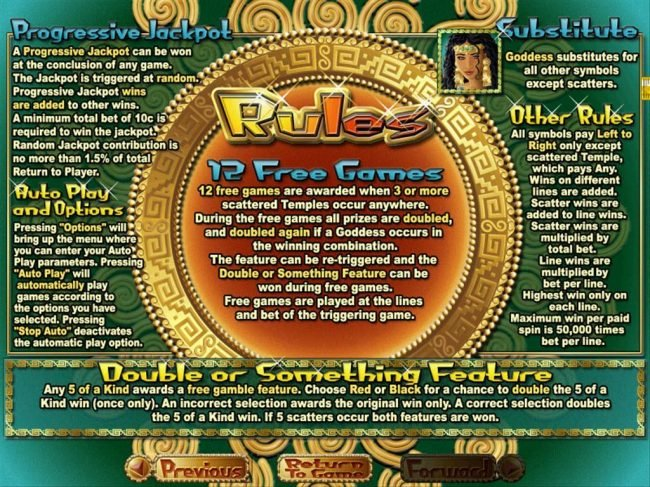 Free Games, Wild, Progressive Jackpot and General Game Rules.