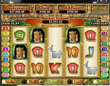 Roaring 21 featuring the Video Slots Incan Goddess with a maximum payout of $250,000