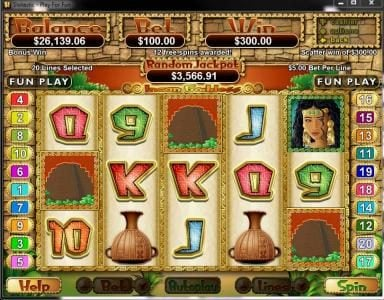 Slotter featuring the Video Slots Incan Goddess with a maximum payout of $250,000
