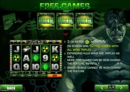 three or more incredible hulk symbols anywhere on screen triggers 10 free games