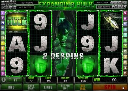 expanding hulk on reel 3 with 2 respins